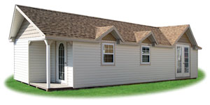 Custom designed victorian style storage shed with vinyl siding, porch, and additional windows
