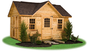 deluxe victorian style storage shed with rustic cedar siding