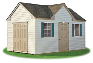 standard victorian storage shed with lifetime vinyl siding