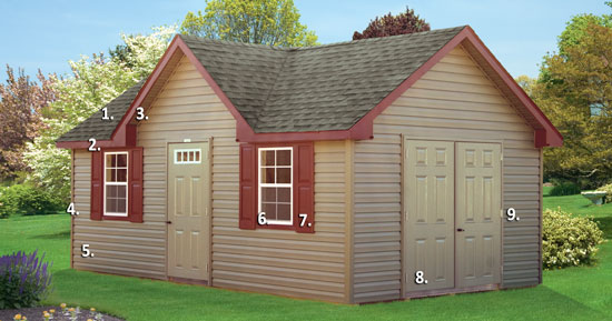 vinyl sided victorian storage shed features and benefits diagram